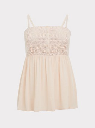 Plus Size Light Pink Gauze & Crochet Button Babydoll Cami , PEACH BLUSH, flat