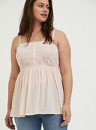 Plus Size Light Pink Gauze & Crochet Button Babydoll Cami , PEACH BLUSH, hi-res
