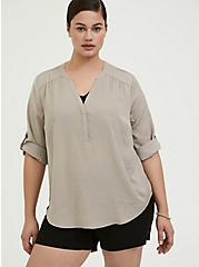 Plus Size Harper - Taupe Textured Charmuse Pullover Blouse, ATMOSPHERE, hi-res