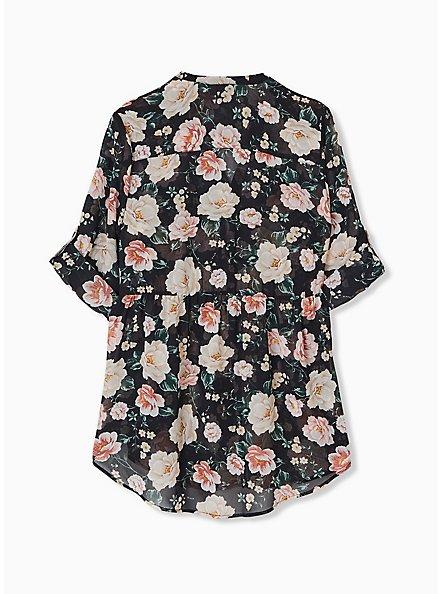 Emma - Black Floral Chiffon Babydoll Tunic, FLORAL - BLACK, alternate