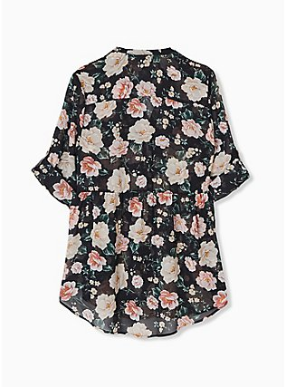 Emma - Black Floral Chiffon Babydoll Tunic, FLORAL - BLACK, alternate