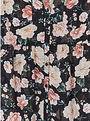 Plus Size Emma - Black Floral Chiffon Babydoll Tunic, FLORAL - BLACK, alternate