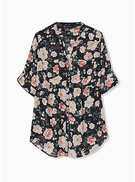 Emma - Black Floral Chiffon Babydoll Tunic, FLORAL - BLACK, hi-res