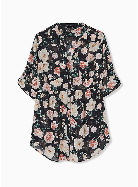 Emma - Black Floral Chiffon Babydoll Tunic, , hi-res