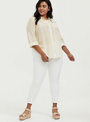 Yellow Stripe Button Front Pocket Shirt, MILLENNIAL YELLOW, alternate