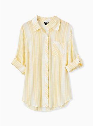 Yellow Stripe Button Front Pocket Shirt, MILLENNIAL YELLOW, flat