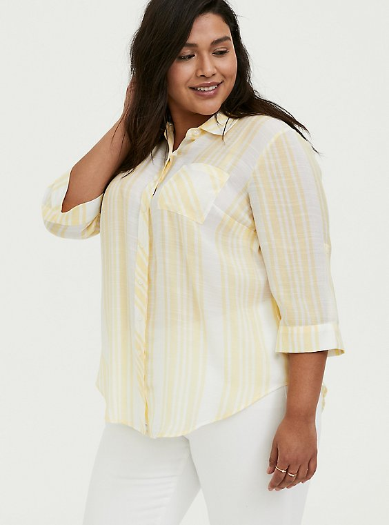 Plus Size Yellow Stripe Button Front Pocket Shirt, , hi-res
