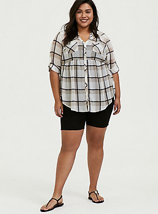 Emma - White & Taupe Plaid Chiffon Babydoll Tunic, PLAID - WHITE, alternate