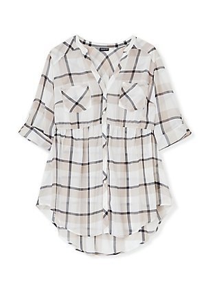 Emma - White & Taupe Plaid Chiffon Babydoll Tunic, PLAID - WHITE, flat