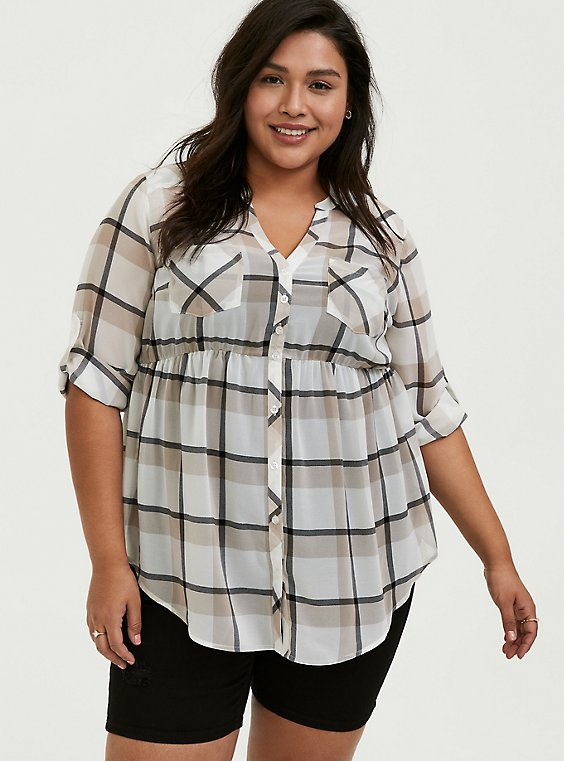 Plus Size Emma - White & Taupe Plaid Chiffon Babydoll Tunic, , hi-res