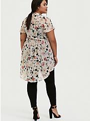 Plus Size Lexie - Light Pink Floral Chiffon Hi-Lo Babydoll Tunic, FLORAL - PINK, alternate