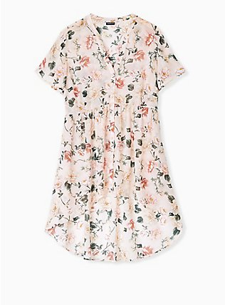 Lexie - Light Pink Floral Chiffon Hi-Lo Babydoll Tunic, FLORAL - PINK, flat