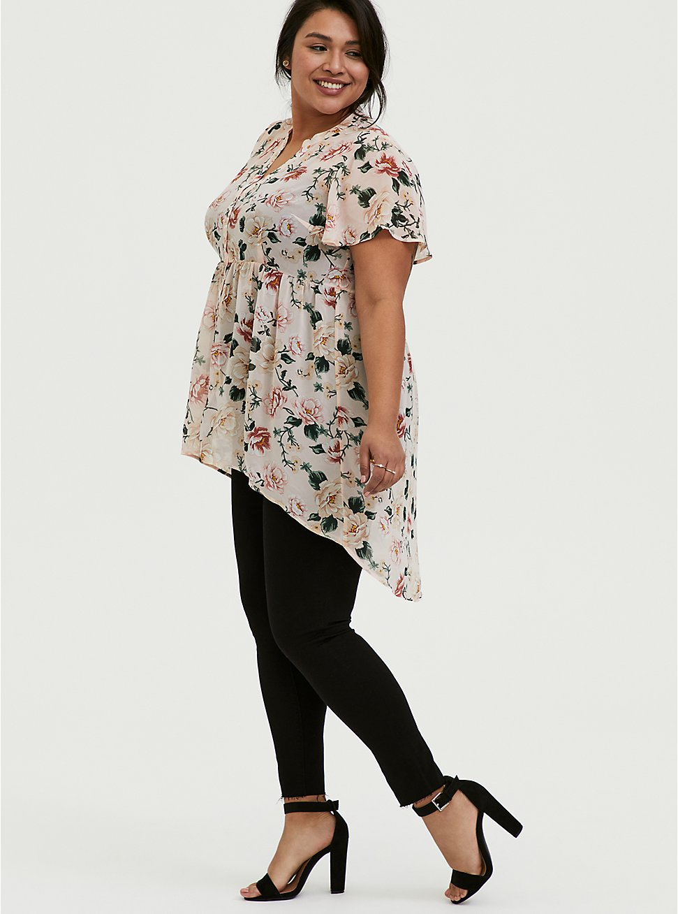 Plus Size Lexie - Light Pink Floral Chiffon Hi-Lo Babydoll Tunic, FLORAL - PINK, hi-res