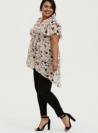 Lexie - Light Pink Floral Chiffon Hi-Lo Babydoll Tunic, FLORAL - PINK, hi-res