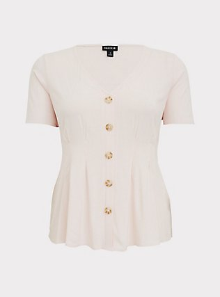 Light Pink Stretch Woven Fit & Flare Blouse, PEACH BLUSH, flat