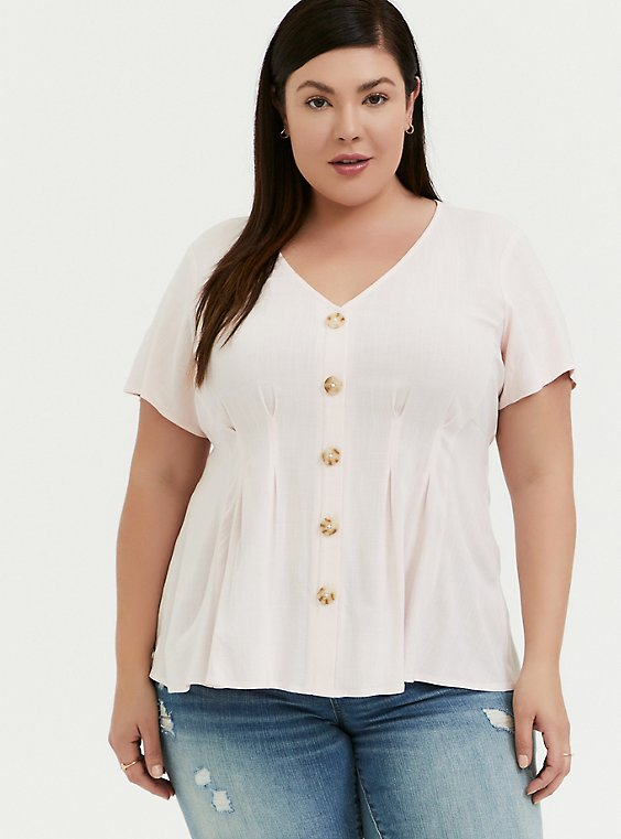 Plus Size Light Pink Stretch Woven Fit & Flare Blouse, , hi-res
