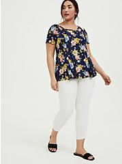 Navy Floral Challis Fit & Flare Blouse, MULTI, alternate