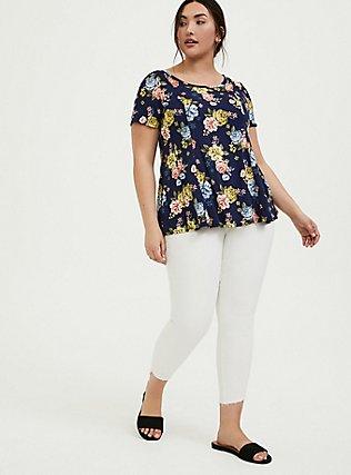 Navy Floral Challis Fit & Flare Blouse, MULTI, alternate