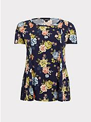 Navy Floral Challis Fit & Flare Blouse, MULTI, hi-res