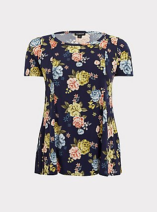 Navy Floral Challis Fit & Flare Blouse, MULTI, flat