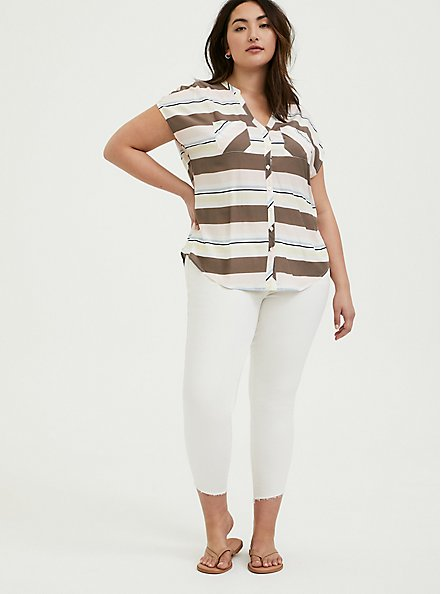 Multi Stripe Challis Dolman Blouse, MULTI, alternate