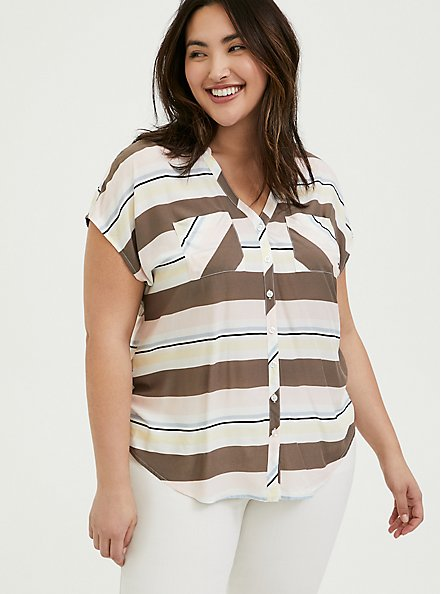 Multi Stripe Challis Dolman Blouse, MULTI, hi-res