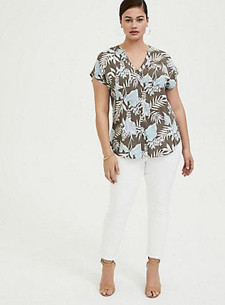 Dark Taupe & Blue Floral Challis Dolman Blouse, FLORAL - TAUPE, alternate