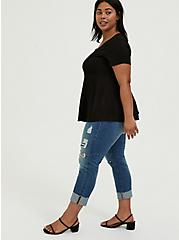 Black Challis Fit & Flare Blouse, DEEP BLACK, alternate