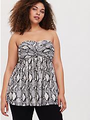 Plus Size Grey Snakeskin Print Strapless Babydoll Tunic, SNAKE - GREY, hi-res