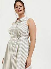Plus Size Taupe & White Stripe Poplin Shirt Dress, STRIPE-IVORY, alternate