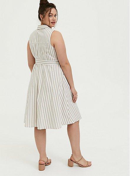 Taupe & White Stripe Poplin Shirt Dress, STRIPE-IVORY, alternate