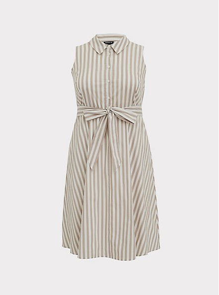 Plus Size Taupe & White Stripe Poplin Shirt Dress, STRIPE-IVORY, hi-res