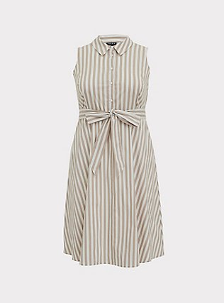 Plus Size Taupe & White Stripe Poplin Shirt Dress, STRIPE-IVORY, flat