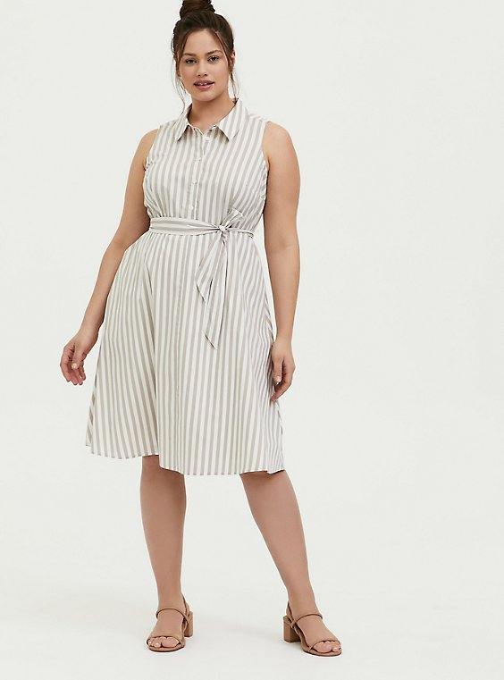 Plus Size Taupe & White Stripe Poplin Shirt Dress, , hi-res