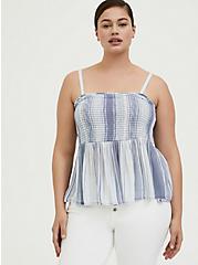 Plus Size Blue Striped Gauze Smocked Cami, MULTI, hi-res