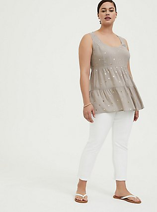 Plus Size Taupe & Gold Hearts Challis Lattice Back Tunic Tank, MULTI, alternate