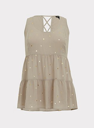Plus Size Taupe & Gold Hearts Challis Lattice Back Tunic Tank, MULTI, flat