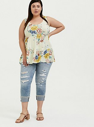 Plus Size Light Yellow Floral Challis Lattice Back Tunic Tank, FLORAL - YELLOW, alternate