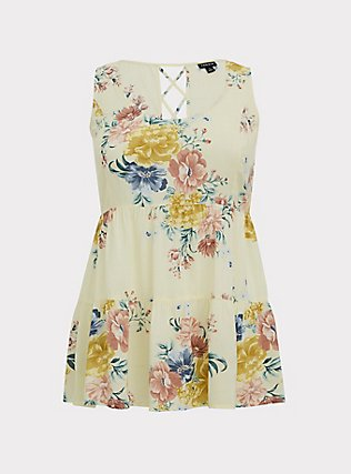 Plus Size Light Yellow Floral Challis Lattice Back Tunic Tank, FLORAL - YELLOW, flat