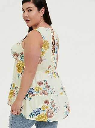 Plus Size Light Yellow Floral Challis Lattice Back Tunic Tank, FLORAL - YELLOW, hi-res