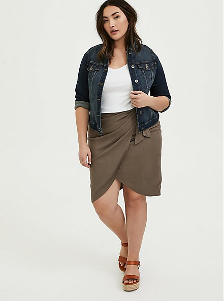 Plus Size Dark Taupe Woven Wrap Pencil Skirt, FALCON, alternate