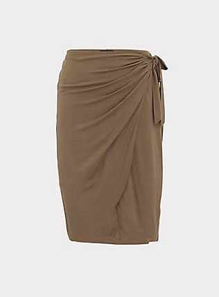 Dark Taupe Woven Wrap Pencil Skirt, FALCON, flat