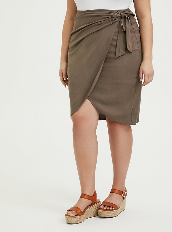 Plus Size Dark Taupe Woven Wrap Pencil Skirt, , hi-res
