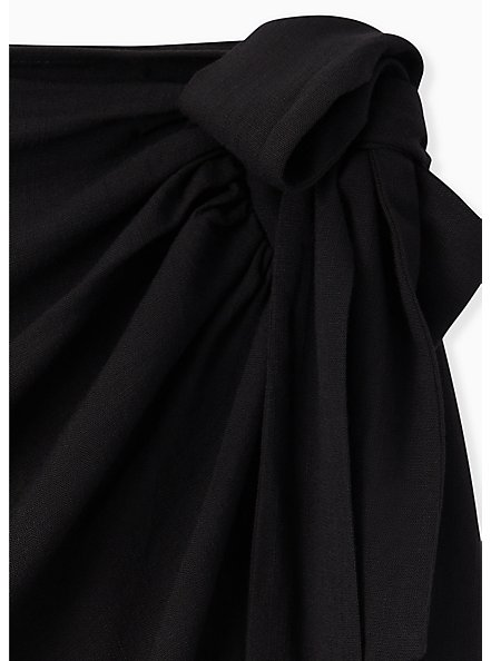 Black Woven Wrap Pencil Skirt, DEEP BLACK, alternate