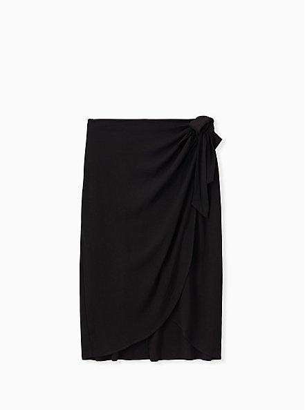 Black Woven Wrap Pencil Skirt, DEEP BLACK, hi-res