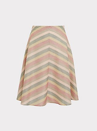 Multi Chevron Lurex A-Line Midi Skirt, CHEVRON, flat