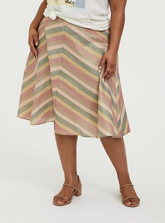 Plus Size Multi Chevron Lurex A-Line Midi Skirt, CHEVRON, hi-res