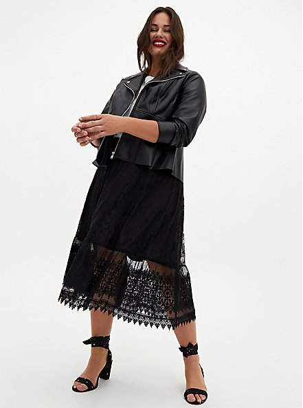 Black Lace Midi Skirt, DEEP BLACK, alternate