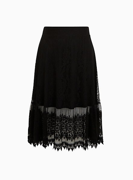 Black Lace Midi Skirt, DEEP BLACK, hi-res