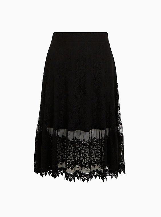 Black Lace Midi Skirt, , flat